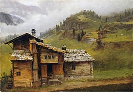 Mountain House, undated by Bierstadt | Painting Reproduction