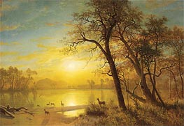Mountain Lake, undated by Bierstadt | Painting Reproduction
