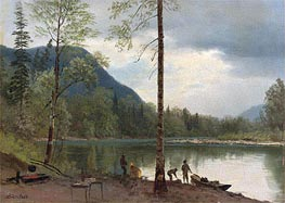 Campers with Canoes, undated by Bierstadt | Painting Reproduction