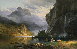 Indians Spear Fishing, 1862 by Bierstadt | Painting Reproduction
