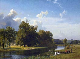 A River Landscape, Westphalia, 1855 by Bierstadt | Painting Reproduction