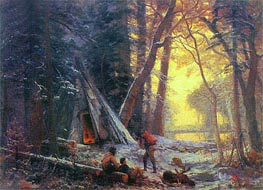 Moose Hunters' Camp, Nova Scotia, 1880 by Bierstadt | Painting Reproduction