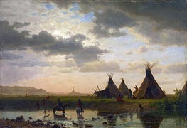 View of Chimney Rock, Ohalilah Sioux Village in the Foreground, 1860 by Bierstadt | Painting Reproduction