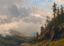 Sierra Nevada Mountains in California, undated by Bierstadt | Painting Reproduction
