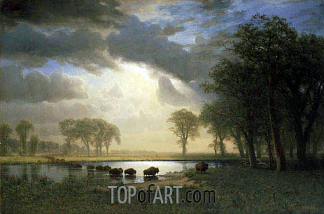 The Buffalo Trail, 1869 | Bierstadt | Painting Reproduction