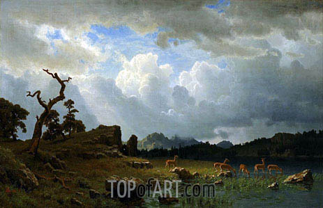 Thunderstorm in the Rocky Mountains, 1859 | Bierstadt| Painting Reproduction