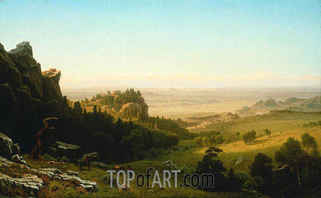 View from the Wind River Mountains, Wyoming, 1860 | Bierstadt | Gemälde Reproduktion