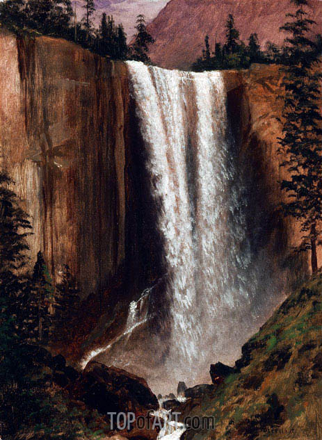 Yosemite Falls, c.1863 | Bierstadt| Painting Reproduction