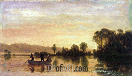 River Scene, 1858 | Bierstadt| Painting Reproduction