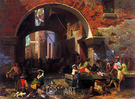 Roman Fish Market, Arch of Octavius, 1858 | Bierstadt| Painting Reproduction