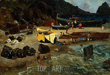Fishing Boats at Capri, 1857 | Bierstadt | Painting Reproduction