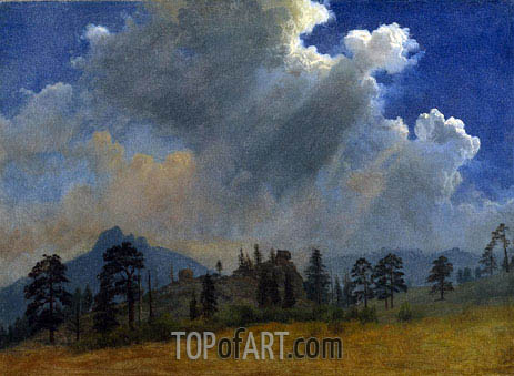 Bierstadt | Fir Trees and Storm Clouds, c.1870