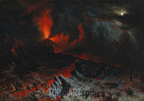 Mount Vesuvius at Midnight, 1868 | Bierstadt| Gemälde Reproduktion