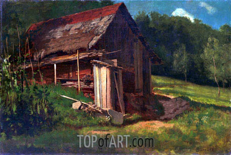 Swiss Mountain Cabin, c.1872 | Bierstadt| Painting Reproduction