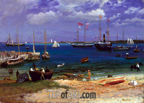 Nassau Harbor, c.1877 | Bierstadt | Painting Reproduction