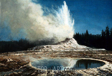 Geyser, Yellowstone Park, c.1881 | Bierstadt | Painting Reproduction
