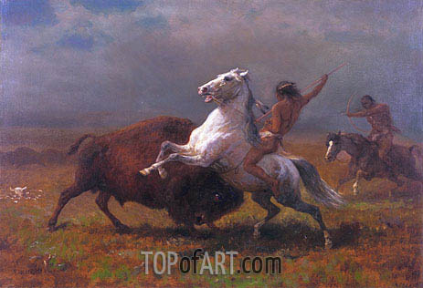 Indians Hunting Buffalo, c.1888 | Bierstadt| Painting Reproduction