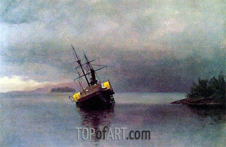 Wreck of the 'Ancon' in Loring Bay, Alaska, 1889 | Bierstadt | Painting Reproduction
