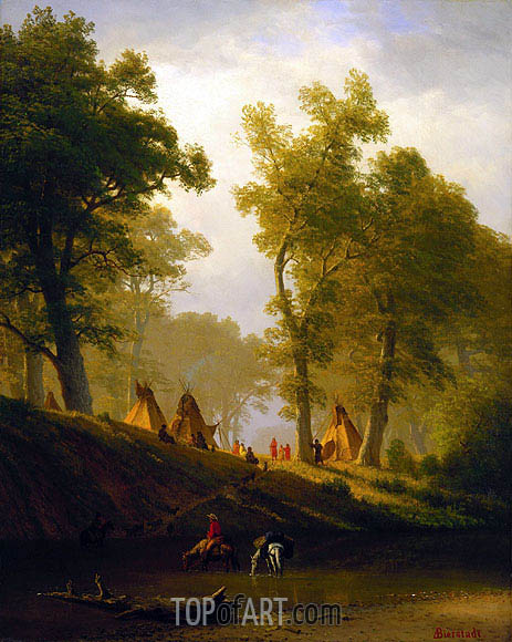 The Wolf River, Kansas, c.1859 | Bierstadt| Gemälde Reproduktion