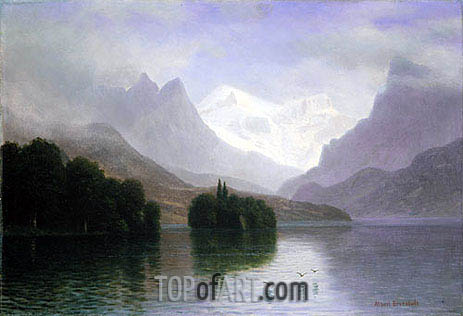 Mountain Scene, c.1880/90 | Bierstadt| Painting Reproduction