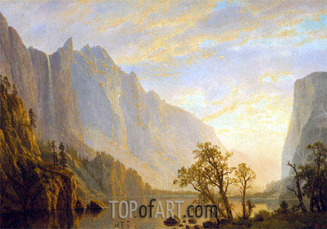 Mountain Scene and River, undated | Bierstadt | Painting Reproduction