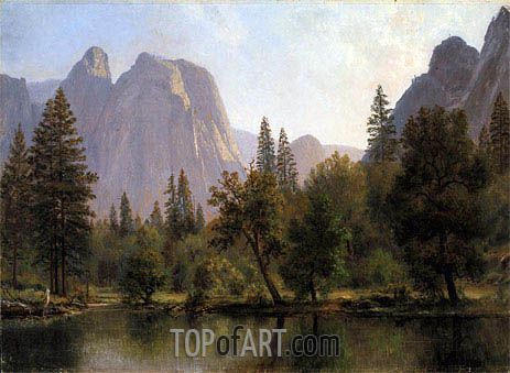 Cathedral Rocks, Yosemite Valley, c.1872 | Bierstadt | Gemälde Reproduktion