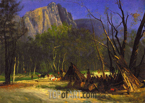 Indians in Council, California, c.1872 | Bierstadt | Painting Reproduction
