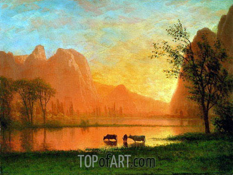 Sundown at Yosemite, undated | Bierstadt| Painting Reproduction