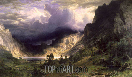 A Storm in the Rocky Mountains - Mountain Rosalie, 1866 | Bierstadt| Gemälde Reproduktion