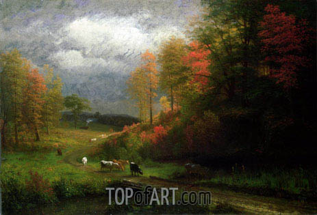 Rainy Day in Autumn, Massachusetts, 1857 | Bierstadt | Painting Reproduction