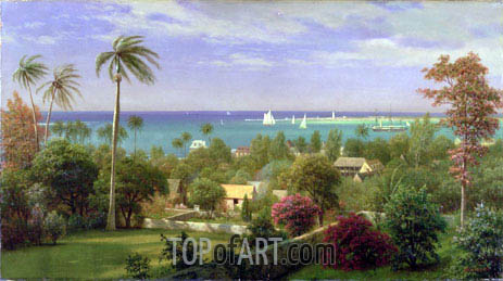 Panoramic View of the Harbour at Nassau in the Bahamas, undated | Bierstadt | Gemälde Reproduktion