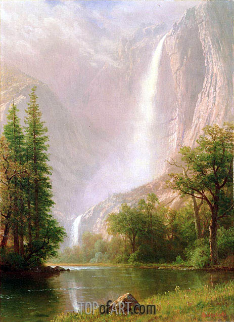Yosemite Falls, c.1865/70 | Bierstadt | Painting Reproduction