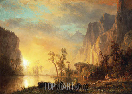 Sunset in the Rockies, 1866 | Bierstadt | Painting Reproduction