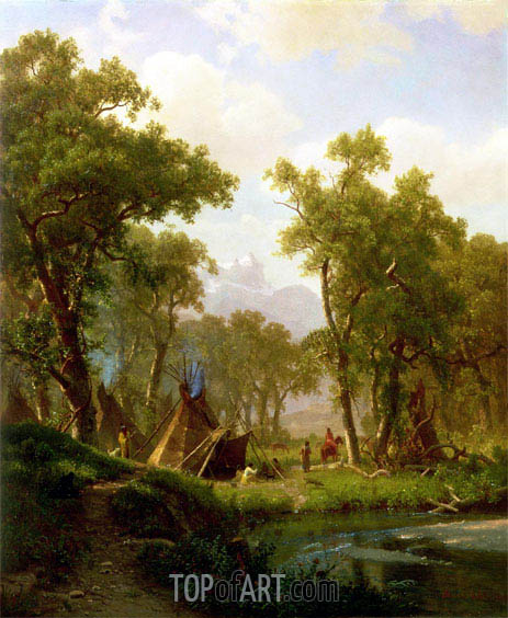 Indian Encampment, Shoshone Village, 1860 | Bierstadt| Painting Reproduction
