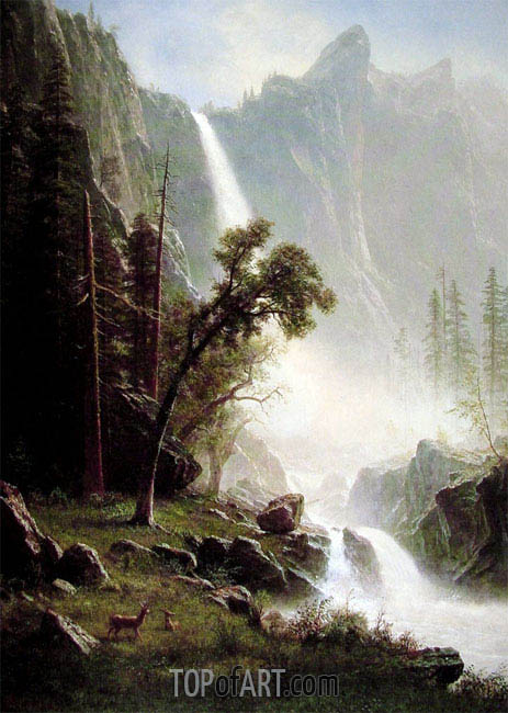 Bridal Veil Falls, Yosemite, c.1871/73 | Bierstadt | Painting Reproduction