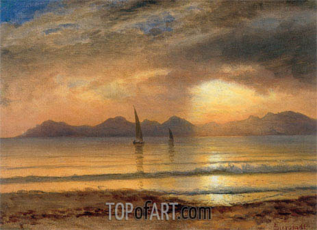 Sunset Over A Mountain Lake, undated | Bierstadt | Gemälde Reproduktion