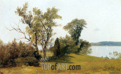 Sailboats on the Hudson at Irvington, c.1886/89 | Bierstadt | Painting Reproduction