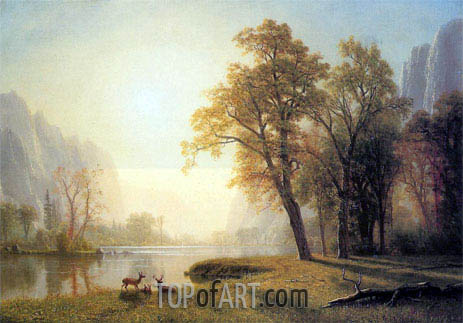 Deer in a Clearing, Yosemite, c.1873/74 | Bierstadt | Painting Reproduction