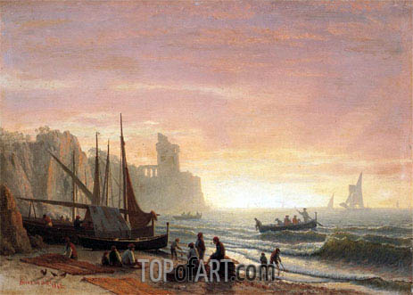 The Fishing Fleet, 1862 | Bierstadt | Painting Reproduction