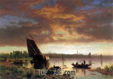 Harbor Scene, c.1860/69 | Bierstadt | Painting Reproduction
