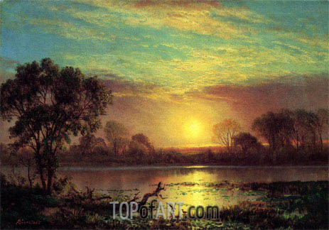 Evening, Owens Lake, California, undated | Bierstadt | Gemälde Reproduktion