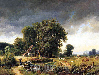 Westphalian Landscape, 1855 | Bierstadt | Painting Reproduction
