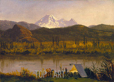 Mt. Baker, Washington, From the Frazier River, 1890 | Bierstadt| Gemälde Reproduktion