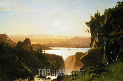 Island Lake, Wind River Range, Wyoming, 1861 | Bierstadt| Painting Reproduction