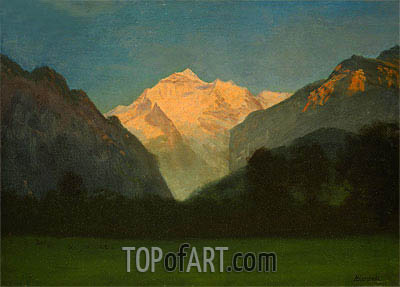 View of Glacier Park (Sunset on Peak), undated | Bierstadt| Painting Reproduction