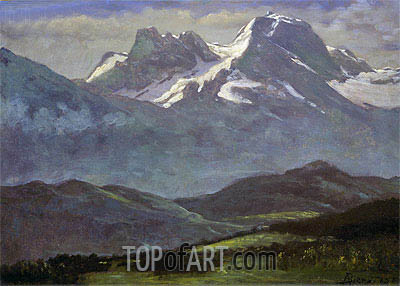 Bierstadt | Summer Snow on the Peaks or Snow Capped Mountains, indated