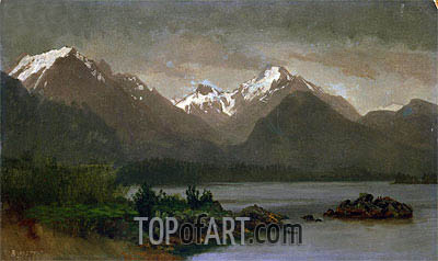 Mountains and Lake, indated | Bierstadt| Gemälde Reproduktion