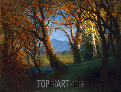 Sunset in the Nebraska Territory , undated | Bierstadt| Gemälde Reproduktion