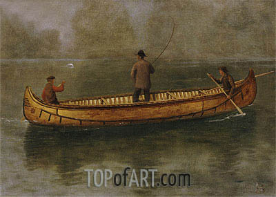 Fishing from a Canoe, undated | Bierstadt | Painting Reproduction