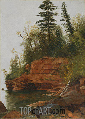 A Rocky Cove, undated | Bierstadt | Painting Reproduction